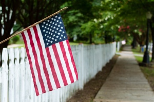 American Flag on a Picket Fence