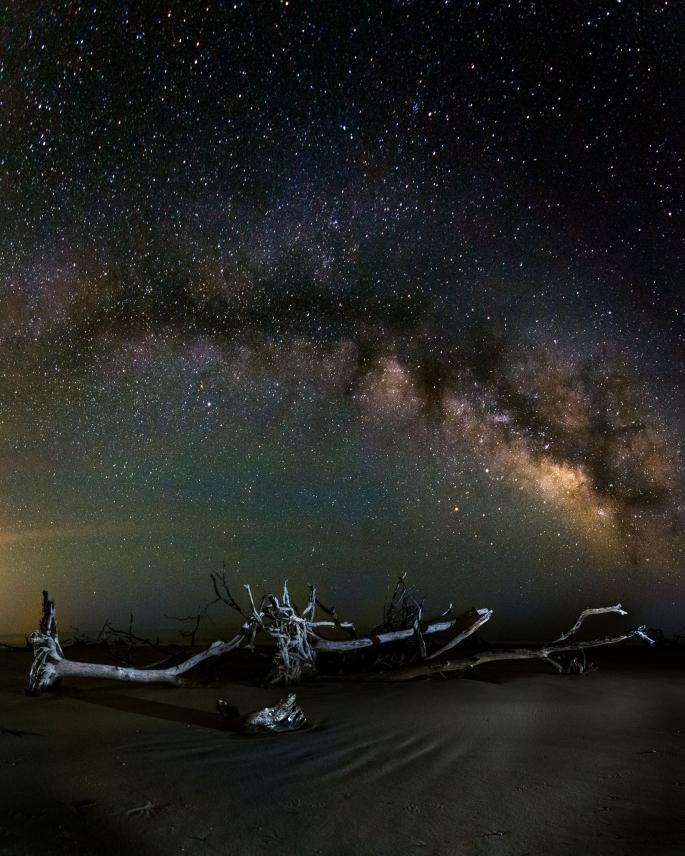 Milky Way Over Boneyard Beach. Hunting Island, South Carolina